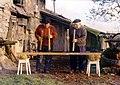 Asentsio eta Ramon Goikoetxea txalaparta jotzen. Erbetegi Etxeberri baserria, Astigarraga, 1984.jpg