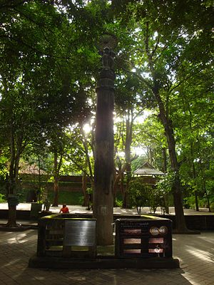 Buddhism in Thailand - Replica of Ashok pillar at Wat Umong in Chiang Mai, Thailand, 13th century. Shows the establishment of Buddhism by Lanna Dynasty's King Mangrai in northern Thailand