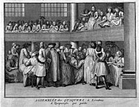 A female Quaker preaches at a meeting in London
