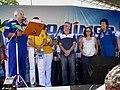 Astronauta Marcos Pontes discursando e a tradutora falando para a Astronauta Ellen Baker, convidada para o evento, Domingo com o Astronauta, evento comemorativo dos 10 anos do primeiro brasileiro no espaço - panoramio.jpg