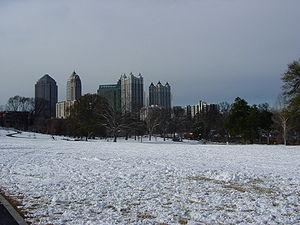 Geography of Atlanta - Atlanta's Piedmont Park, with a blanket of winter snow.