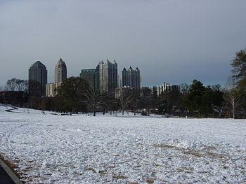 A wintry snow scene in Piedmont Park ...