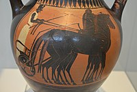 Attic black-figure amphora depicting a quadriga, the charioteer is waiting for the start of the chariot race, ca, 510 BC, National Archaeological Museum of Athens (13928521497).jpg