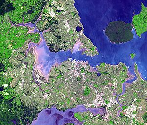 Auckland - Satellite view of the Auckland isthmus and Waitematā Harbour
