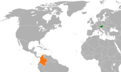 Map indicating locations of Austria and Colombia