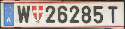 "Licence plate issued in Vienna (""W"" for Wien)"