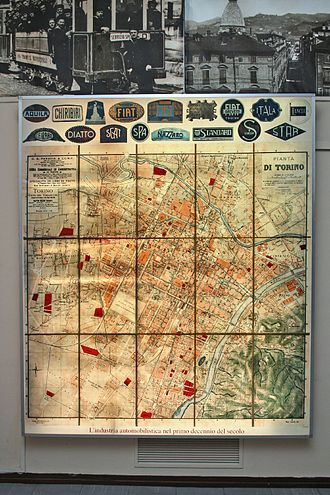 Automotive industry in Italy - Map of automobile industry in Turin, Italy in the 1910s.