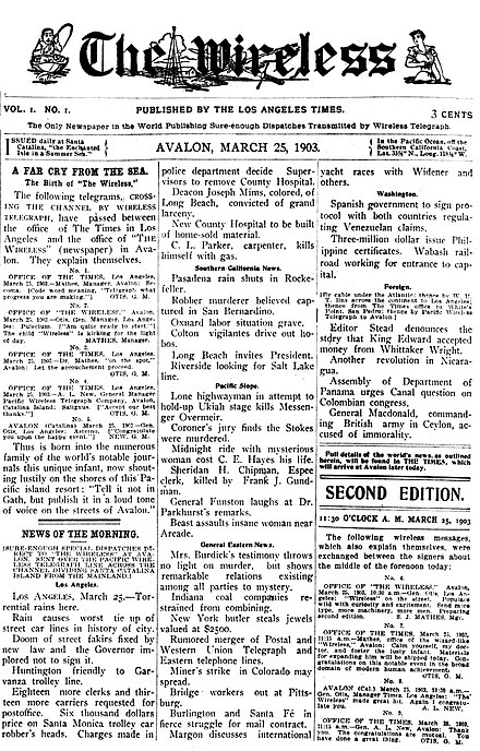 Front page of the debut (March 25, 1903) issue of the short-lived The Wireless, published in Avalon. Avalon Wireless front page - 25MAR1903.jpg