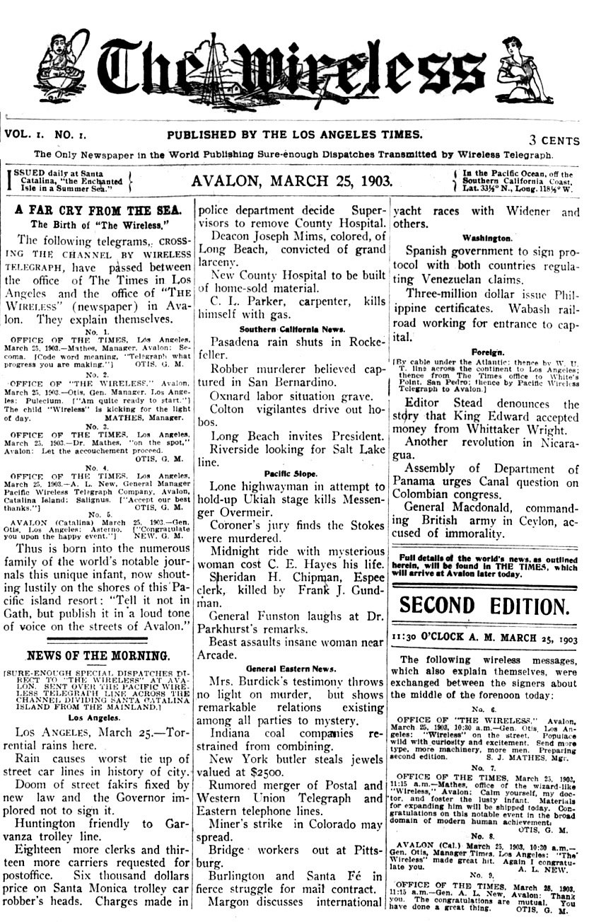 Avalon Wireless front page - 25MAR1903