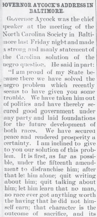 "Charles Brantley Aycock - Aycock's Address in Baltimore. ""The News-Herald."" 24 Dec 1903."