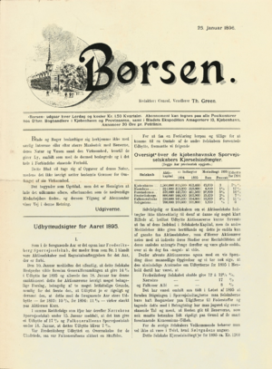 1896 in Denmark - The front page of the first issue of Børsen from 25 January 18961905
