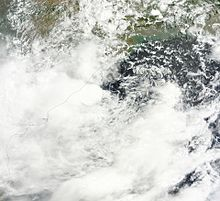 A satellite image of a disorganized Depression BOB 01 as it makes landfall on the Odia coast late on 20 June