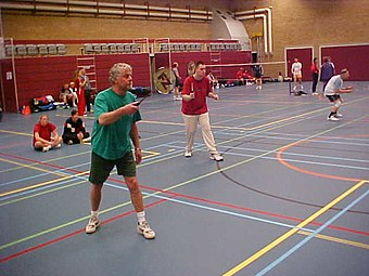 A mens doubles match, the blue lines are those for the badminton court. The other coloured lines denote uses for other sports - such complexity being common in multi-use sports halls