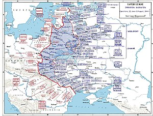 Lvov–Sandomierz Offensive - German and Soviet deployments on the Eastern Front, June to August 1944, showing Operation Bagration to the north, Lviv-Sandomierz to the south. The encirclement of the German XIII Army Corps at Brody is shown in Konev's First Ukrainian command.