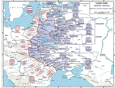 German and Soviet deployments on the Eastern Front, June to August 1944, showing Operation Bagration to the north, Lvov-Sandomierz to the south. The encirclement of the German XIII Army Corps at Brody is shown in Konev's First Ukrainian command. BagrationMap2.jpg