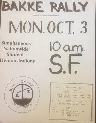 Regents of the Univ. of Cal. v. Bakke - Poster for rally urging that affirmative action be upheld in Bakke, October 1977