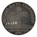 Baksida av medalj med bild av kärve samt text - Skoklosters slott - 99605.tif