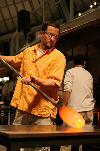 "Glassblowing - Glassblower Jean-Pierre Canlis sculpting a section of his piece ""Insignificance"""