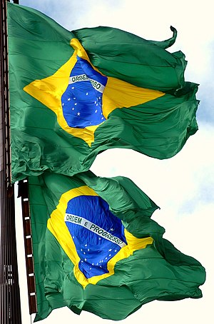 Flag of Brazil - The flag being replaced in a monthly ceremony held at the Praça dos Três Poderes (Three Powers Plaza) in Brasília