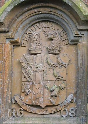 George Anthony Legh Keck - The Legh Keck coat of arms above the front porch at Bank Hall