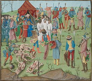 Froissart of Louis of Gruuthuse (BnF Fr 2643-6) - Execution of prisoners after the Battle of Nicopol Ms. Fr 2646, attr. to the Master of the Dresden Prayer Book