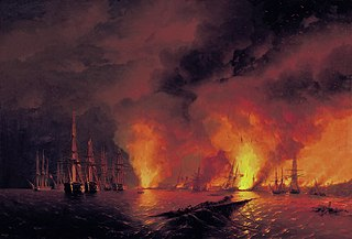 The Battle of Sinop on 18 November 1853 (Night after Battle)