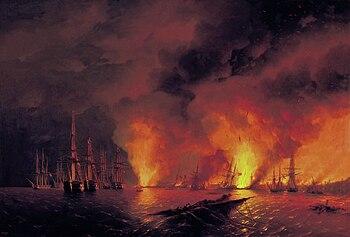 Naval Battle of Sinope, painting by Ivan Ajvazovskij