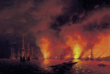 The Russian destruction of the Turkish fleet at the Battle of Sinop on 30 November 1853 sparked the war (painting by Ivan Aivazovsky). Battle of Sinop.jpg