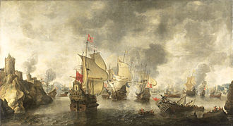 Cretan War (1645–1669) - Battle of the Venetian fleet against the Turks at Phocaea (Focchies) in 1649. Painting by Abraham Beerstraten, 1656.