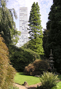 The Bayer skyscraper in Leverkusen, seen from the Japanese gardens