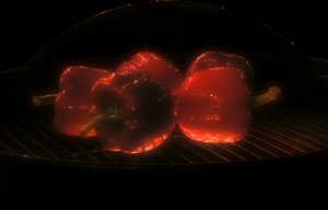 Bell peppers on grill