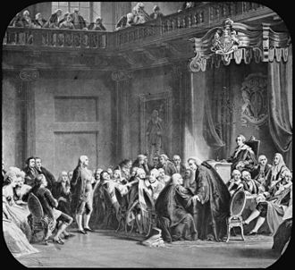 Hutchinson Letters Affair - 19th century engraving depicting Benjamin Franklin's appearance before the Privy Council