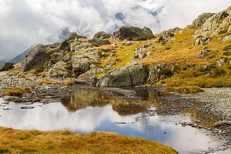 A view from the path between the Malga Mare Power Station and Lago Lungo in Stelvio National Park, Italy