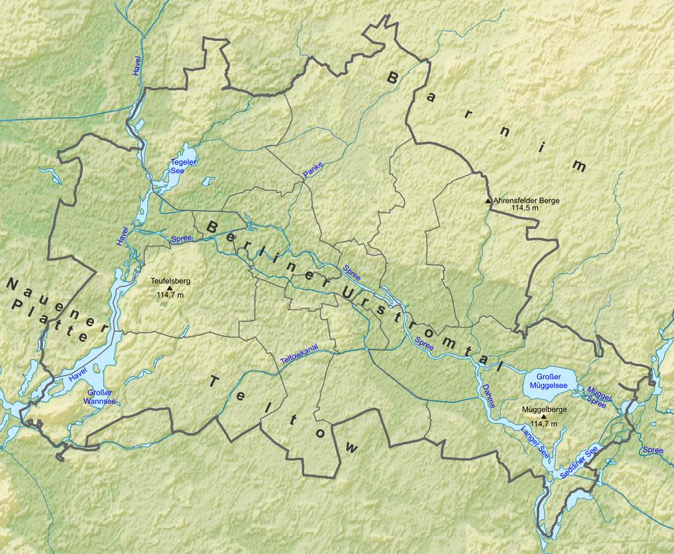 Berlin relief location map-names