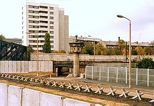 Czech hedgehog - Entry point of the West Berlin S-Bahn into East Berlin near the Berlin Wall in Liesenstrasse/Gartenstrasse, 1980