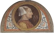 Bernardino Luini. lunetta con Bianca Maria Visconti, 1522/25