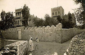 Bezalel Academy of Arts and Design - Boris Schatz outside the Bezalel campus, Jerusalem, 1913