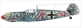 Jagdgeschwader 52 - A Bf 109E-1, whose markings indicate it as belonging to 7./JG 52.