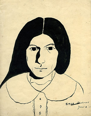 Janice Biala - Janice Biala, untitled (self-portrait), 1925, ink on paper, 10¾ × 8½ inches