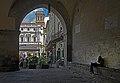 Biblioteca Civica Angelo Mai through the passage. Bergamo, Italy.jpg