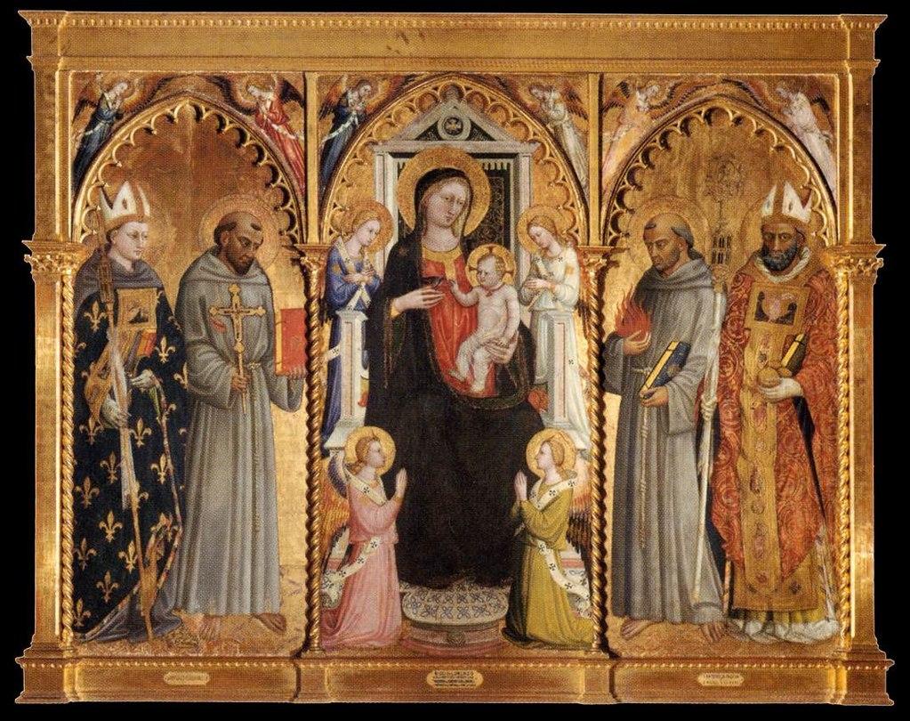 Bicci di Lorenzo (1373–1452), Madonna and Child with Saints and Angels, anni '20 del XV sec., tempera su pannello, Galleria dell'Accademia, Firenze