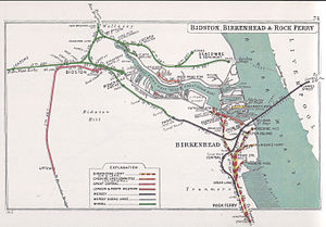 Wirral line - A Railway Clearing House map of the railways in Birkenhead and Bidston prior to the 1923 grouping.