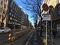 Bikeway temporarily converted to two-way. Van on the sidewalk (42263038482).jpg