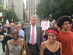 bill de blasio with his wife chirlane left and children chiara and dante at a rally in new york city in