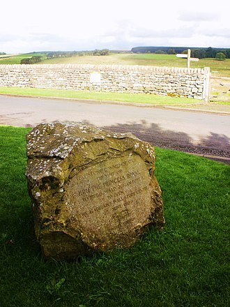 Banna (Birdoswald) - Engraved stone erected to commemorate the opening of the fort's study centre by Princess Anne in June 1999.