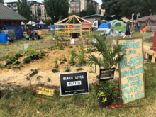 Urban garden with signs