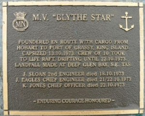 Tasmanian Seafarers Memorial - Memorial plaque for MV ''Blythe Star'', lost off South West Cape in 1973