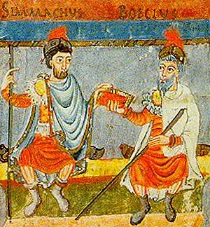 farbige Zeichnung von zwei Männern in römischer Kleidung