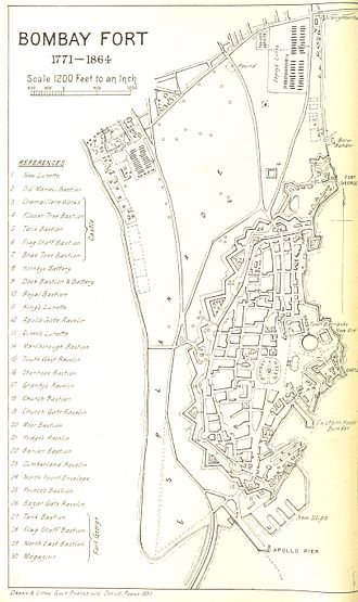History of Bombay under British rule (1661–1947) - Bombay Fort 1771-1864