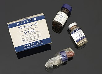 South East England - Terramycin, an early antibiotic developed by Pfizer in Kent, synthesised by American chemist Robert Burns Woodward, and led to the common antibiotic doxycycline